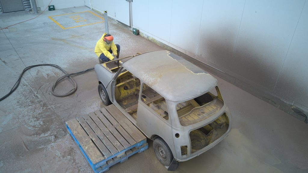 Dustless blasting a mini 1275 GTS