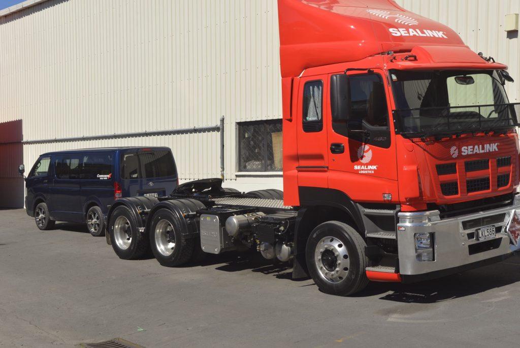 A Sealink truck getting a CorrosionX treatment.