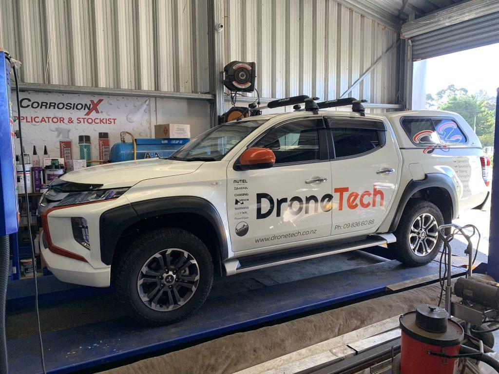 DroneTech ute getting a CorrosionX application